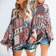 Colorful Printed V Neck  Long Sleeve Design Woman Long Chiffon Blouse Shirt