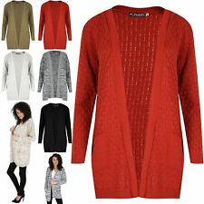 Womens Cable Knit Boyfriend Cardigan Ladies Chunky Waffle Open Front Pocket Top