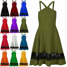 Ladies Casual Mesh Lace Insert Strappy Skater Dress Womens Sleeveless Swing Top