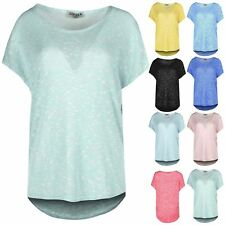 Womens High Low Dip Hem Round Neck Top Ladies Oversized Baggy Casual Tee T Shirt