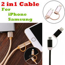 2 in 1 Charger Data Sync Cable with Micro USB For Samsung Android iPhone 7 6 6s