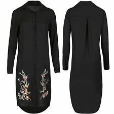 Womens Ladies Collared Floral Embroidery Chiffon Button Hi Lo Long Shirt Dress