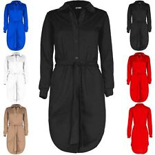 Women Collared Hem Long Sleeve Belted Button Down Curved Ladies Mini Shirt Dress