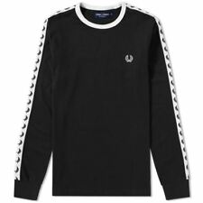 Fred Perry Mens FRED PERRY M2604 LONG SLEEVE RINGER T-SHIRT shirt Black  (M2604)