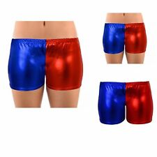 LADIES GIRLS STRETCH BLUE RED SQUAD METALLIC SHINY HOT PANTS SHORTS DANCE PARTY