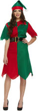 Adults Elf Costume Christmas Fancy Dress Green and Red Tights Xmas Outfit
