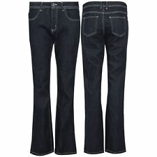 Womens Ladies Straight Boot Cut Zip Up Button Denim Flared Wide Legs Jeans Pants