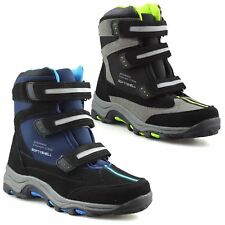 Boys Kids Infants Casual Waterproof Winter Warm Ankle Boots Trainers Shoes Size