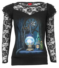 Spiral The Witches Aprentice, Lace Layered Long Sleeve Top Black|Cat|Mystical