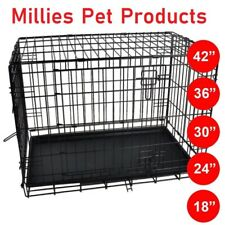 Pet Cage Metal Dog  Puppy Training Folding Crate Animal Transport With Tray