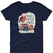 Women's Reading Vintage Quote Slogan Books Coffe Owl Graphic Top T-SHIRT TEE 003