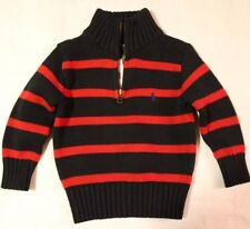 Polo RALPH LAUREN Baby/Toddler Boys 1/4 Zip Knitted Sweater Pullover Black/Red