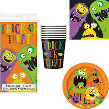 Halloween Kids Little Monsters Party Tableware Tablecover Plates Cups Napkins