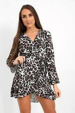 New Womens Ladies  Wrap Over Leopard Print Top  Party Dress Size 8-14