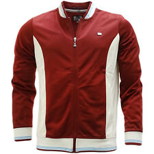 Weekend Offender Burgundy With Ecru Trim Full Zip Track Top Jumper - Chavez