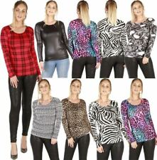Ladies Scoop Neck Long Sleeves Printed Casual Party Wear Tops Stretchable Tshirt