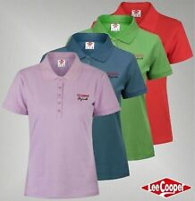 Ladies Branded Lee Cooper Casual Cotton Regular Top Plain Polo Shirt Size 8-16