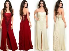 Womens Long Sweetheart Cocktail Lace Split Evening Party Dress Prom Gown 10-16