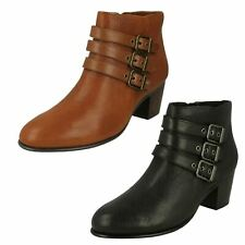 Ladies Clarks Heeled Ankle Boots - Maypearl Rayna