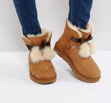 New UGG Brown BNIB £170 Leather Fur Suede Classic GITA Ankle Women's Shoes Boots