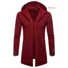 Men's Fashion Casual Solid Color Sleeve Zipper Design Hooded Sweater Jacket
