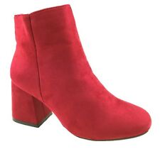 LADIES FASHION FAUX SUEDE ANKLE BOOTS SIDE ZIP BLOCK HEEL RED SIZE 3-8