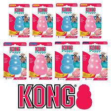 KONG Puppy Toys Classic Pink Blue Rubber Bouncy Balls Rings Dog Chew Treat Play
