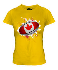 CANADA RUGBY BALL SPLATTER LADIES T-SHIRT TEE TOP GIFT WORLD CUP SPORT