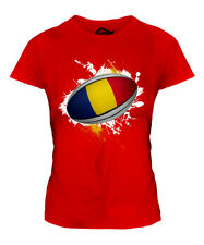 ROMANIA RUGBY BALL SPLATTER LADIES T-SHIRT TEE TOP GIFT WORLD CUP SPORT
