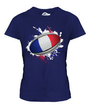 FRANCE RUGBY BALL SPLATTER LADIES T-SHIRT TEE TOP GIFT WORLD CUP SPORT