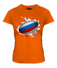 RUSSIA RUGBY BALL SPLATTER LADIES T-SHIRT TEE TOP GIFT WORLD CUP SPORT