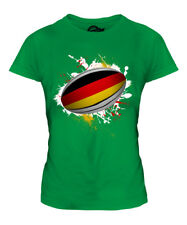 GERMANY RUGBY BALL SPLATTER LADIES T-SHIRT TEE TOP GIFT WORLD CUP SPORT