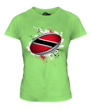 TRINIDAD RUGBY BALL SPLATTER LADIES T-SHIRT TEE TOP GIFT WORLD CUP SPORT