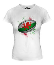 WALES RUGBY BALL SPLATTER LADIES T-SHIRT TEE TOP GIFT WORLD CUP SPORT