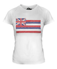 HAWAII STATE SCRIBBLE FLAG LADIES T-SHIRT TEE TOP GIFT HAWAIIAN FOOTBALL