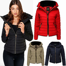 Ladies Puffer Jacket Quilted Padded Bubble Fur Collar Warm Thick Women Coat New