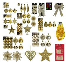 Gold Christmas Tree Ornaments Hanging Baubles Star,Heart,Drops,Bows Xmas Decor