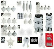 White Christmas Tree Ornaments Hanging Baubles Star,Heart,Drops,Bows Xmas Decor