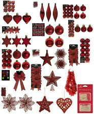 Red Christmas Tree Ornaments Hanging Baubles Star,Heart,Drops,Bows Xmas Decor