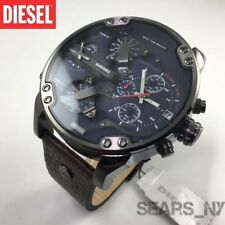 Diesel MR.DADDY 2.0 DZ7314 Men Watch Navy Blue Dial Brown Leather Gunmetal NEW