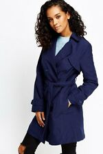 Ladies Blue Double Breasted Trench Mac Coat Fashion Belted Jacket UK 10