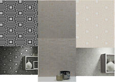 Arthouse Modena Sqaure Geometric Textured Wallpaper in Charcoal, Gold & Silver