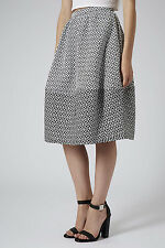 Topshop Aztec Mono Lantern Full Wide Circle Midi Skirt UK 10 EU 38 US 6 BNWT