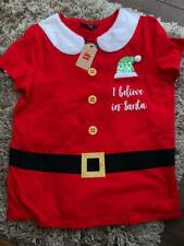 PRIMARK LADIES I BELIEVE IN SANTA T-SHIRT BNWT ALL SIZES FLUFFY COLLAR AND SEQUI