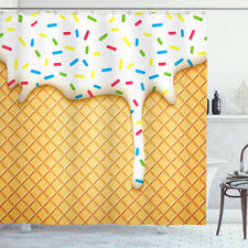 Food Shower Curtain Melting Ice Cream Cones Print for Bathroom