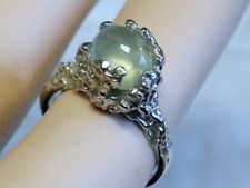 NATURAL 2.30ct Green Prehnite 925 Sterling Silver Ring USA Made Size 9 Size 10