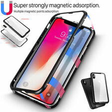 Magnetic Metal Frame Tempered Glass Back Case for iPhone XS XR MAX X 7 8 6 Plus