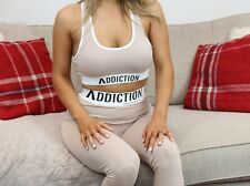 Addiction Ladies Nude Bra Piece Crop Top loungeWear Tracksuit Fashion H&M Style