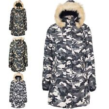 Womens Ladies Zip Up Pocket Camouflage Print Trench Parka Faux Fur Hooded Jacket