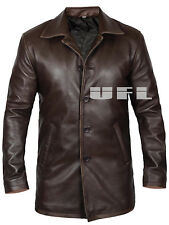 Doctor Who UK Officer Mens Brown Cowhide Leather Trench Rain Coat Long Jacket